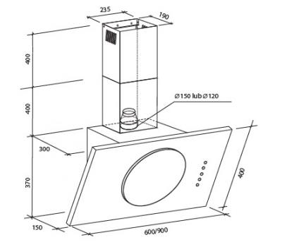Okap przyścienny Toflesz OK-3 SOLAR SPRINT 90 500 m3/h rysunek techniczny