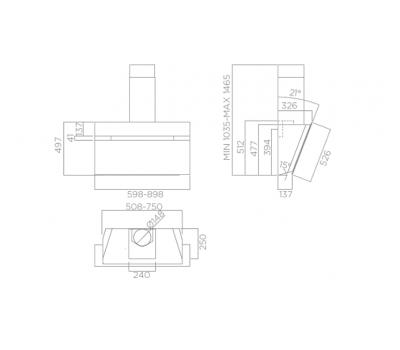 Okap przyścienny ELICA Stripe IX/A/90/LX Inox rysunek techniczny