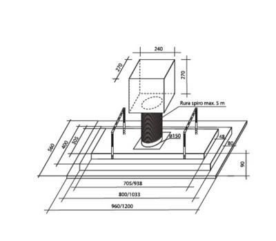 Okap sufitowy TOFLESZ OK-6 LUXOR GLASS 100 CZARNY 850 m3/h rysunek techniczny