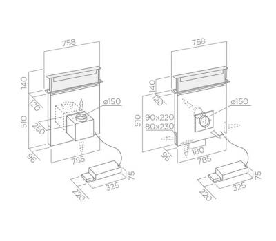 Okap blatowy ELICA PANDORA GME IX/F/90 INOX rysunek techniczny