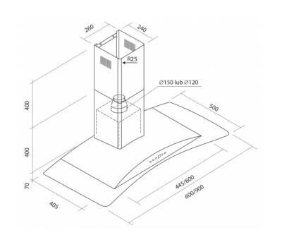 Okap przyścienny TOFLESZ OK-6 Cristal Glass 90 700 m3/h rysunek techniczny