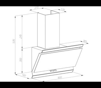 Okap przyścienny VDB Deco 60: kolor szkła: białe, kolor czaszy: czarny rysunek techniczny