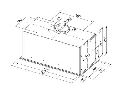Okap do zabudowy GLOBALO Insolita 60.1 Inox rysunek techniczny