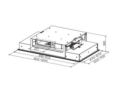 Okap sufitowy FABER HEAVEN GLASS 2.0 WH FLAT 120 rysunek techniczny