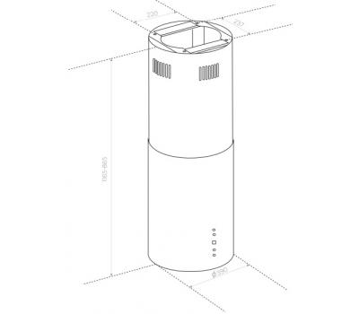 Okap wyspowy BERG FLOYD NIGHT czarny mat rysunek techniczny
