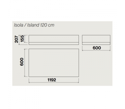 Okap wyspowy FALMEC Vetra 120 biały rysunek techniczny