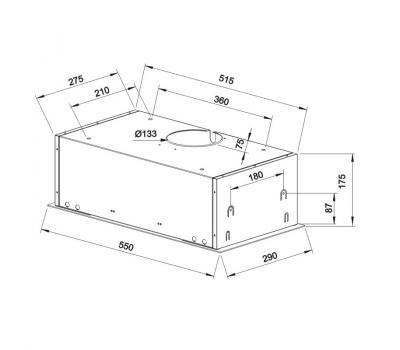 Okap do zabudowy Teka GFG2 INOX rysunek techniczny