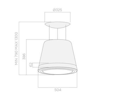 Okap wyspowy ELICA SUMMILUX COPPER/F/50 rysunek techniczny