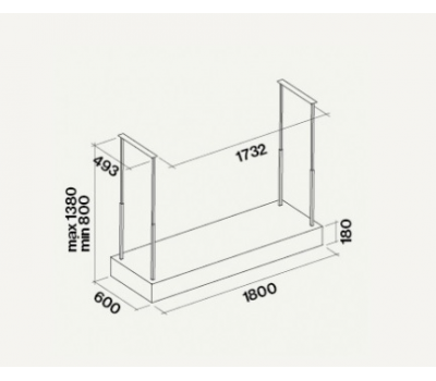 Okap wyspowy FALMEC Oceano E.ion 180 czarny rysunek techniczny