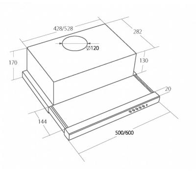 Okap teleskopowy AKPO WK-7 LIGHT ECO 60 BIAŁY rysunek techniczny