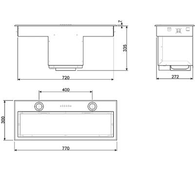 Okap do zabudowy SMEG KSEG78PXE rysunek techniczny