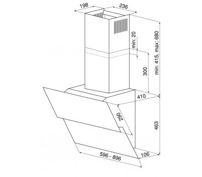 Okap przyścienny GLOBALO Mirida 60.3 Black/BL schemat