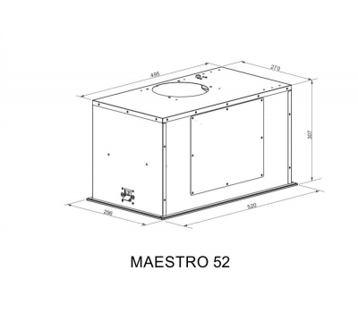 Okap do zabudowy BERG Maestro 52 White schemat