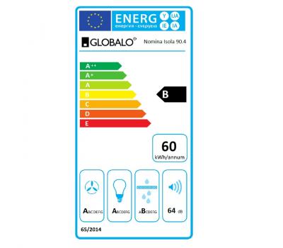Okap wyspowy GLOBALO Nomina Isola 90.4 Sensor Black klasa energetyczna