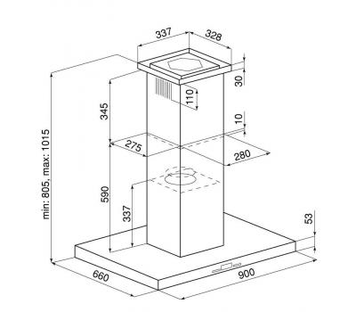 Okap wyspowy GLOBALO Nomina Isola 90.4 Sensor Black schemat