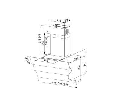 Okap przyścienny GLOBALO Divergo 60.2 White rysunek techniczny