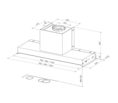 Okap do zabudowy FABER IN-NOVA COMFORT EG6 X 90 schemat