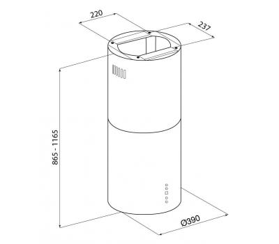 Okap wyspowy GLOBALO CYLINDRO ISOLA 39.4 INOX rysunek techniczny