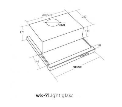 Wyprzedaż Okap teleskopowy AKPO WK-7 LIGHT GLASS 60 rysunek