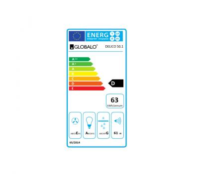Okap do zabudowy GLOBALO Delico 50.1 Inox klasa energetyczna