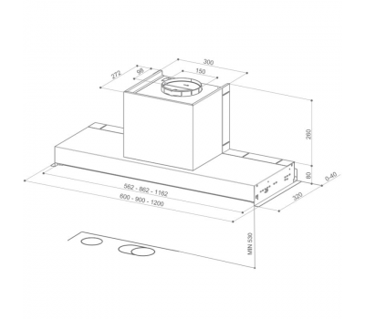 Okap do zabudowy FABER IN-NOVA COMFORT EG6 X 60 rysunek techniczny