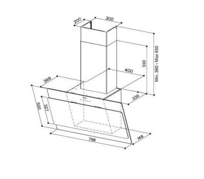 Okap przyścienny FABER COCKTAIL EG8 BK 80 rysunek techniczny