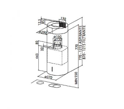 Okap wyspowy FABER CYLINDRA ISOLA GLOS PLUS EV8+ WH 37 rysunek techniczny