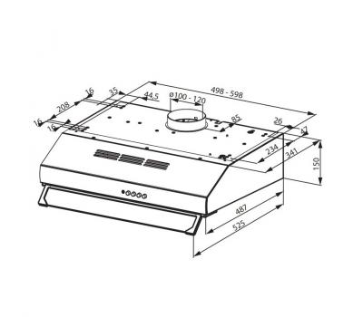 Okap podszafkowy FABER 741 PLUS X 50 schemat