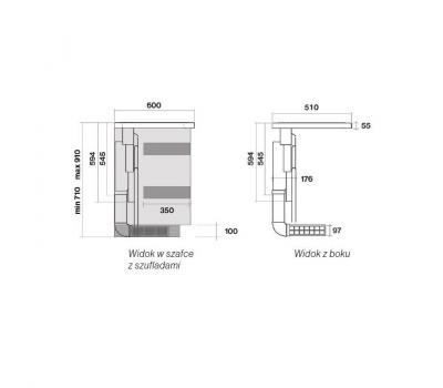 Płyta indukcyjna ze zintegrowanym okapem blatowym FALMEC SINTESI schemat