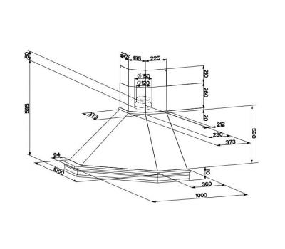 Okap narożny FABER RANCH ANGOLO rysunek techniczny