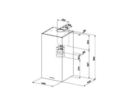 Okap przyścienny FABER CUBIA W 45 GLOSS ENERGY ACTIVE rysunek techniczny