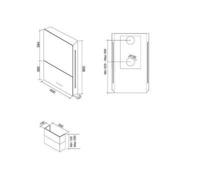 Okap przyścienny FALMEC GHOST White rysunek techniczny