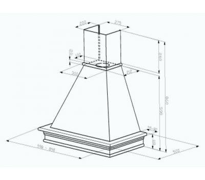 Okap przyścienny FABER RANCH 60 C1F rysunek techniczny