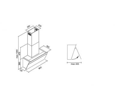 Okap przyścienny FALMEC BUTTERFLY 90 Black rysunek techniczny