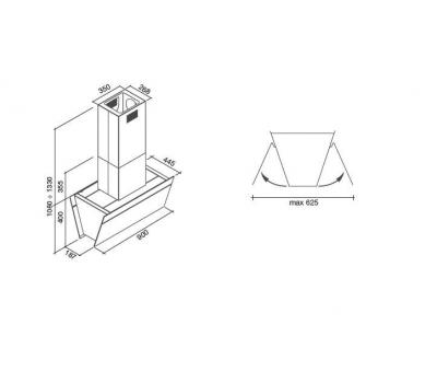 rysunek techniczny Okap wyspowy FALMEC BUTTERFLY 90 BLACK ISOLA