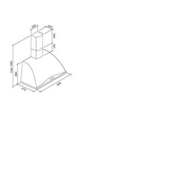 Okap przyścienny FALMEC GINEVRA TILE rysunek techniczny