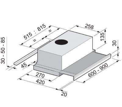 Okap teleskopowy FALMEC SLIM 60 INOX EVO rysunek techniczny