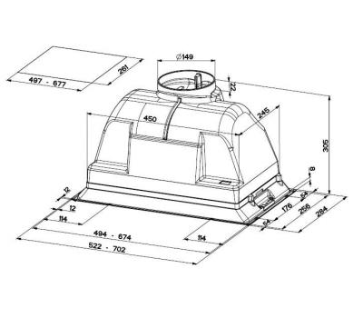 Okap do zabudowy FABER INCA PLUS HIP 70 rysunek techniczny
