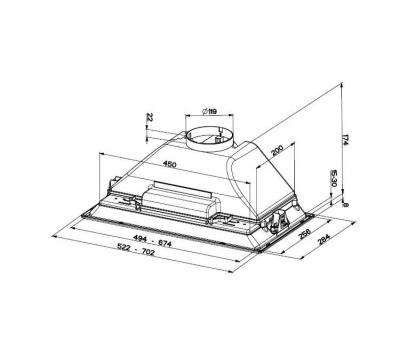 Okap do zabudowy FABER INCA SMART 70 C rysunek techniczny
