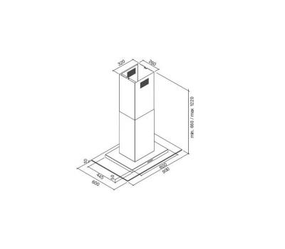 Okap wyspowy FALMEC EXPLOIT ISOLA 90 rysunek techniczny
