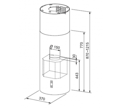Okap wyspowy FRANKE Tunnel FTU 3807 I XS 77 H rysunek techniczny