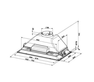 Okap do zabudowy FABER INCA SMART 70 HC rysunek techniczny