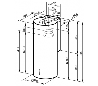 Okap przyścienny Smeg KR37XE rysunek
