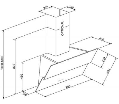 Okap przyścienny SMEG KSVV90NX rysunek