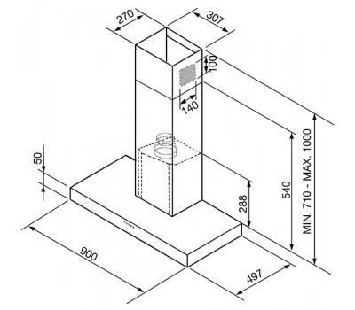 Okap przyścienny SMEG KS905BXE2 rysunek