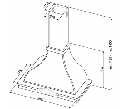 Okap przyścienny Smeg KCM900POE rysunek