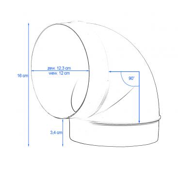 Kolanko okrągłe DOMUS 90° fi 12,5 cm kod 590 rysunek techniczny