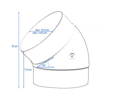 Kolanko okrągłe DOMUS 45° fi 15 cm kod 691 schemat