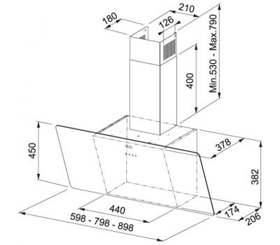 Okap przyścienny FRANKE EVO FPJ 815 V WH A rysunek