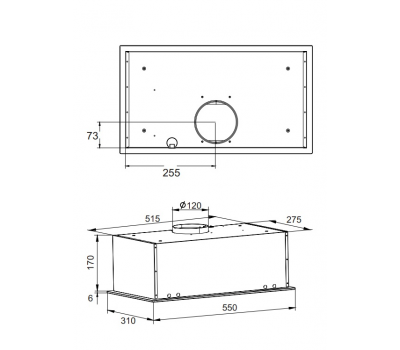 Okap do zabudowy AMICA OMP6251BG rysunek